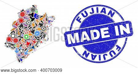 Development Mosaic Fujian Province Map And Made In Scratched Stamp Seal. Fujian Province Map Collage