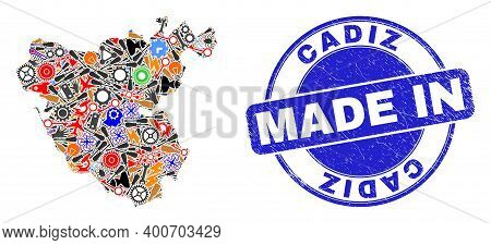 Engineering Cadiz Province Map Mosaic And Made In Grunge Rubber Stamp. Cadiz Province Map Collage Cr