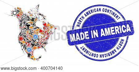 Production Mosaic North America V2 Map And Made In Distress Stamp Seal. North America V2 Map Collage
