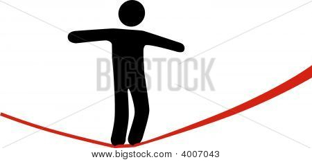 A symbol person balances and walks a high wire tightrope above risk and danger. poster