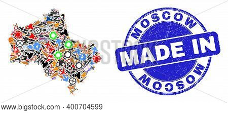 Development Moscow Region Map Mosaic And Made In Scratched Watermark. Moscow Region Map Mosaic Desig