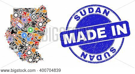 Service Sudan Map Mosaic And Made In Textured Stamp Seal. Sudan Map Abstraction Designed With Spanne