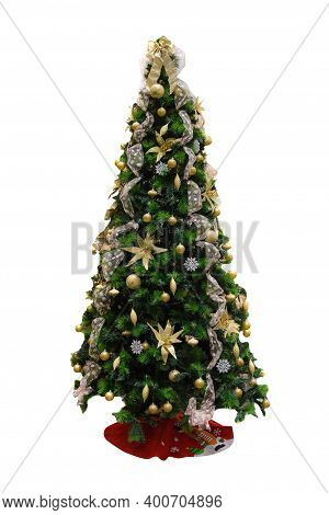 Green Christmas Tree Decorated With Christmas Decorations Isolated On White Background