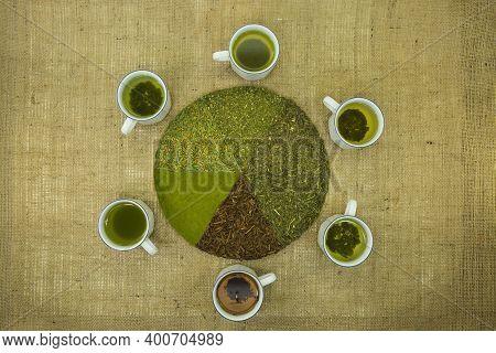 Japanese Tea. Tea Background. Six Varieties Of Japanese Tea. Tea Is Brewed In A Cup. Photo On The Ba