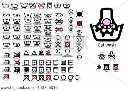 89 Laundry Line Icons. Laundry Cats Icons. Laundry Simbols Decoded. Laundry Simbols Explain. Cat Paw