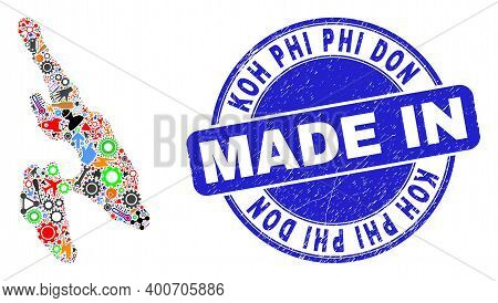 Industrial Mosaic Koh Phi Don Map And Made In Grunge Watermark. Koh Phi Don Map Mosaic Formed With S