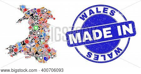 Component Mosaic Wales Map And Made In Grunge Rubber Stamp. Wales Map Composition Formed With Wrench
