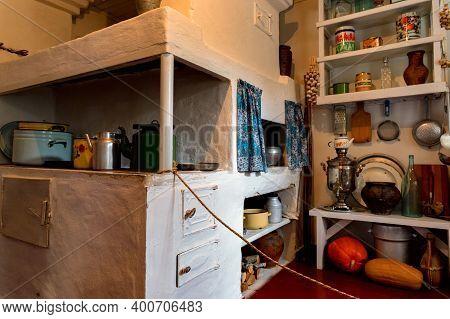 Veshenskaya, Russia - Circa October, 2020: Summer Kitchen At Sholokhov Estate