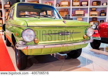 Kamensk-shakhtinsky, Russia - 25 October 2020: Green Zaz-968 Aka Zaporozhets Car
