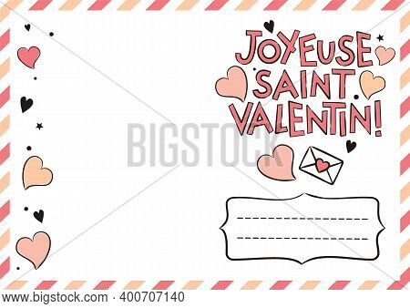 French Happy Valentine's Day Postcard With Hearts And Gift Boxes. Cute Greeting Card. Hand Drawn Air