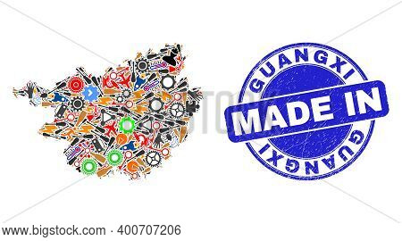 Industrial Guangxi Province Map Mosaic And Made In Grunge Stamp. Guangxi Province Map Collage Compos
