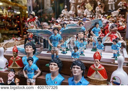 Naples, Italy December 2020: Diego Armando Maradona, The Most Important Football Player, Repeated In