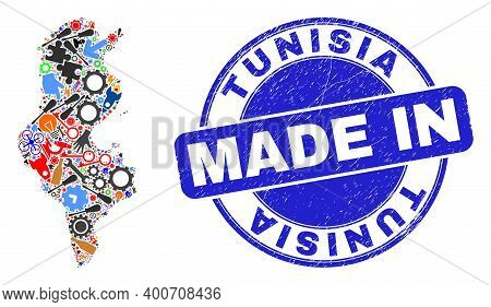 Production Mosaic Tunisia Map And Made In Grunge Rubber Stamp. Tunisia Map Abstraction Composed With