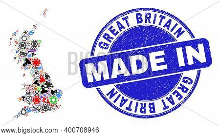 Technical Mosaic Great Britain Map And Made In Grunge Rubber Stamp. Great Britain Map Mosaic Designe