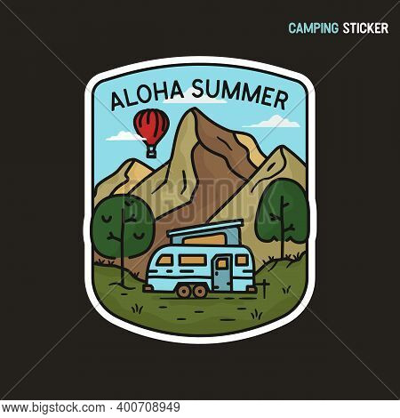 Camping Adventure Sticker Design. Travel Hand Drawn Logo Emblem. State Park Label Isolated. Stock Ve