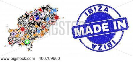 Service Ibiza Island Map Mosaic And Made In Distress Stamp Seal. Ibiza Island Map Abstraction Compos