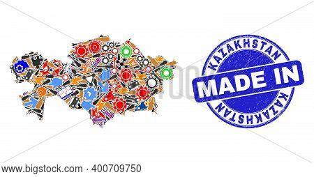 Development Mosaic Kazakhstan Map And Made In Grunge Stamp Seal. Kazakhstan Map Collage Designed Wit