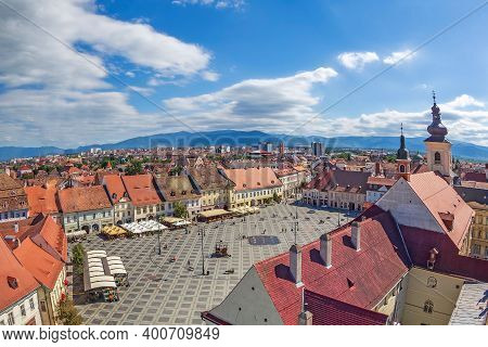 Sibiu,transylvania,romania-july 8,2020:aerial View From The Council Tower Over The Big Square,part O