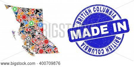 Engineering British Columbia Map Mosaic And Made In Textured Rubber Stamp. British Columbia Map Abst