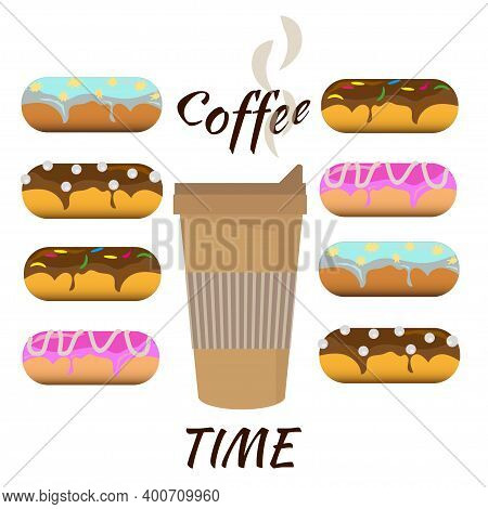 Hot Coffee In Disposable Takeaway Cup And Selection Of Sweet Donuts With Different Icings And Toppin