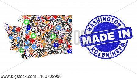 Technical Washington State Map Mosaic And Made In Grunge Seal. Washington State Map Abstraction Form