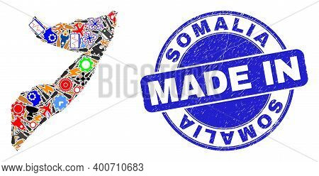Service Mosaic Somalia Map And Made In Grunge Stamp Seal. Somalia Map Mosaic Created From Wrenches,w