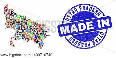 Service Uttar Pradesh State Map Mosaic And Made In Distress Stamp. Uttar Pradesh State Map Abstracti