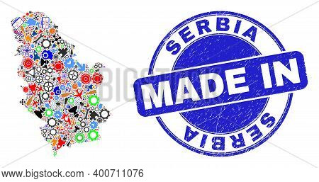 Technical Mosaic Serbia Map And Made In Scratched Rubber Stamp. Serbia Map Abstraction Created With