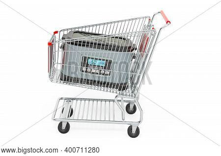 Sous Vide Machine Inside Shopping Cart, 3d Rendering Isolated On White Background