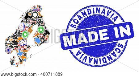 Technical Scandinavia Map Mosaic And Made In Textured Stamp Seal. Scandinavia Map Mosaic Created Wit