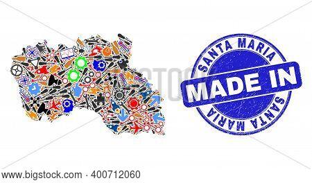 Service Mosaic Santa Maria Island Map And Made In Grunge Stamp Seal. Santa Maria Island Map Collage