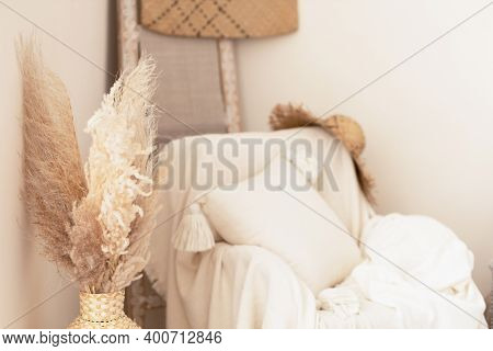 Boho Style Living Room Interior Design In Natural Tones And Neutral Colors. Wicker Furniture And Dri