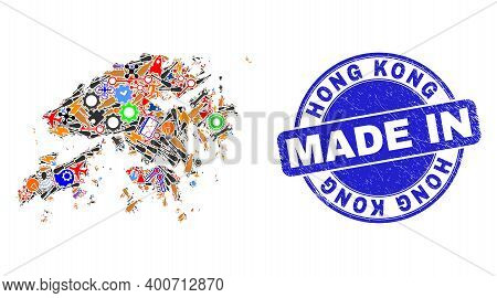 Production Mosaic Hong Kong Map And Made In Grunge Rubber Stamp. Hong Kong Map Composition Composed