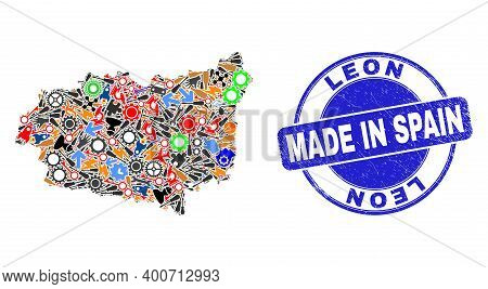 Service Leon Province Map Mosaic And Made In Textured Seal. Leon Province Map Mosaic Designed With W