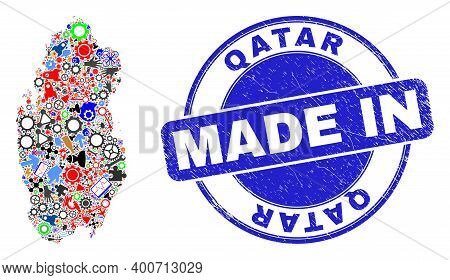Component Mosaic Qatar Map And Made In Scratched Stamp. Qatar Map Collage Formed With Wrenches, Cogs