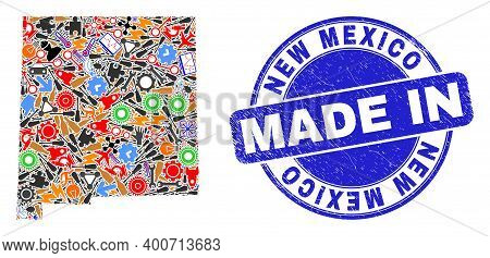 Production New Mexico State Map Mosaic And Made In Grunge Rubber Stamp. New Mexico State Map Mosaic