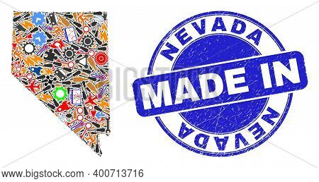 Production Nevada State Map Mosaic And Made In Scratched Rubber Stamp. Nevada State Map Collage Desi