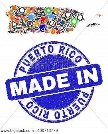Engineering Puerto Rico Map Mosaic And Made In Scratched Rubber Stamp. Puerto Rico Map Abstraction D