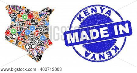 Technical Kenya Map Mosaic And Made In Distress Stamp Seal. Kenya Map Mosaic Designed With Wrenches,
