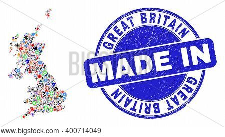 Industrial United Kingdom Map Mosaic And Made In Distress Seal. United Kingdom Map Mosaic Composed W