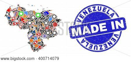 Technical Mosaic Venezuela Map And Made In Distress Rubber Stamp. Venezuela Map Composition Formed W