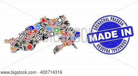 Technical Arunachal Pradesh State Map Mosaic And Made In Scratched Stamp Seal. Arunachal Pradesh Sta