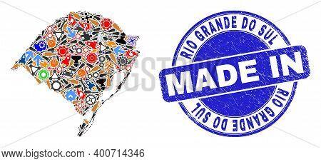 Development Rio Grande Do Sul State Map Mosaic And Made In Textured Rubber Stamp. Rio Grande Do Sul