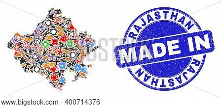 Production Mosaic Rajasthan State Map And Made In Scratched Stamp Seal. Rajasthan State Map Composit