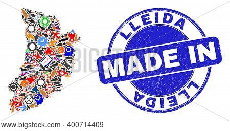 Component Mosaic Lleida Province Map And Made In Scratched Seal. Lleida Province Map Mosaic Formed W