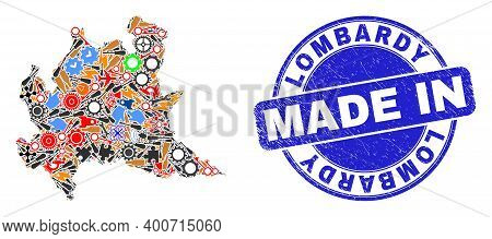 Development Mosaic Lombardy Region Map And Made In Grunge Rubber Stamp. Lombardy Region Map Collage