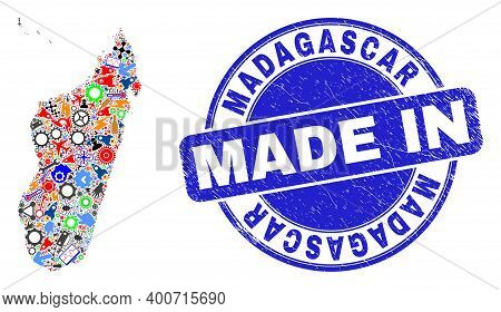 Development Madagascar Island Map Mosaic And Made In Scratched Rubber Stamp. Madagascar Island Map C