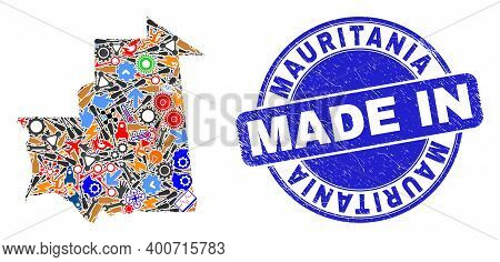 Industrial Mosaic Mauritania Map And Made In Grunge Rubber Stamp. Mauritania Map Mosaic Created From