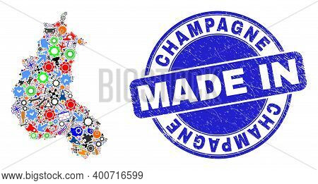 Technical Champagne Province Map Mosaic And Made In Distress Stamp. Champagne Province Map Mosaic Fo