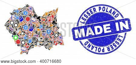 Industrial Lesser Poland Voivodeship Map Mosaic And Made In Distress Rubber Stamp. Lesser Poland Voi